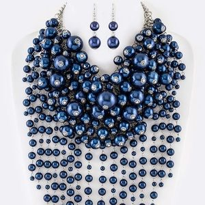 Jewelry - Royal Blue Head Turner Pearl Statement Necklace